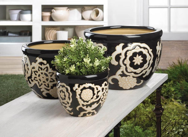Planters-Set of 3-Ceramic-Black-White-Small-Medium-Large-Floral Nights