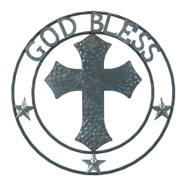 Metal Art-Galvanized Cross-God Bless