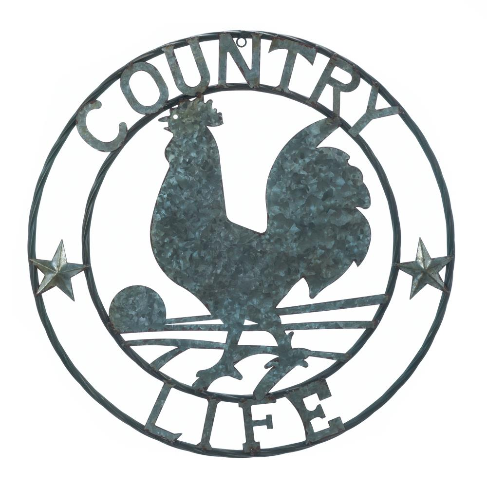 Country Life-Metal Art-Galvanized Rooster