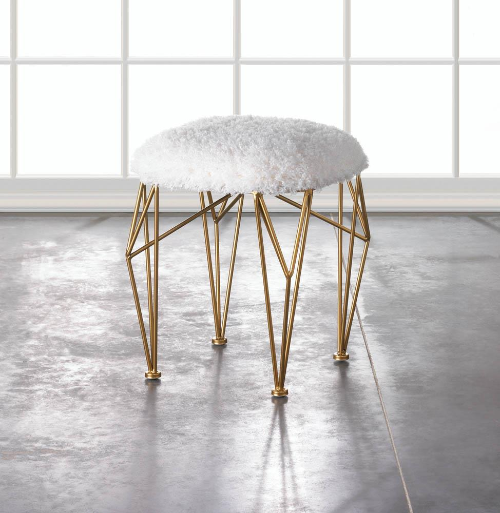 Decorative Stool-Geo White Faux Fur