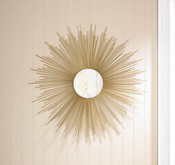 Wall Mirror-Modern-Sunburst-Golden Rays