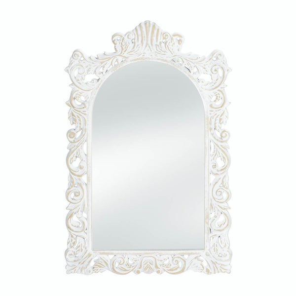 Wall Mirror-Vintage Style-Distressed-White