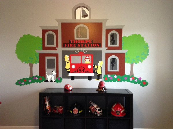Our Fire Station, a DIY Paint by Number Wall Mural by Elephants on the Wall - Expressions of Home