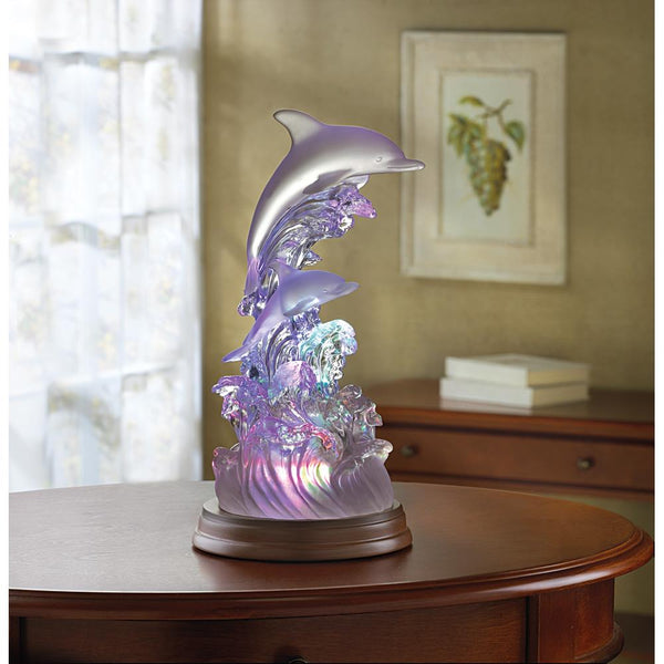 Dolphins-Sculpture-LED Light-Nautical