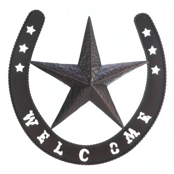 "Friendly 19 1/4 x 18 5/8"" Lonestar Welcome Iron Wall Decor - Seasonal Expressions"