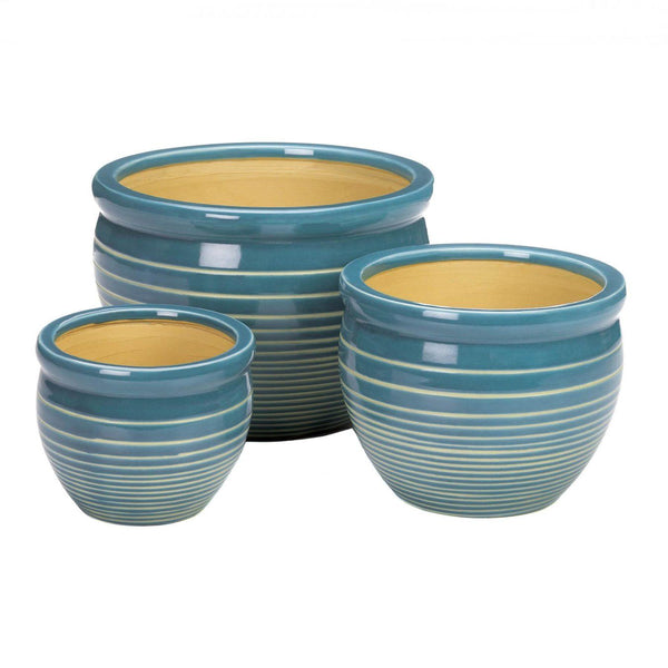 Planters-Set of 3-Ceramic-Small-Medium-Large-Blue-White-Striped-Ocean Breeze
