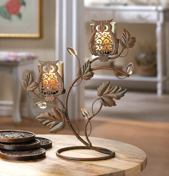 Candleholder-Wise Owl Duo Votive Stand-Cozy Home