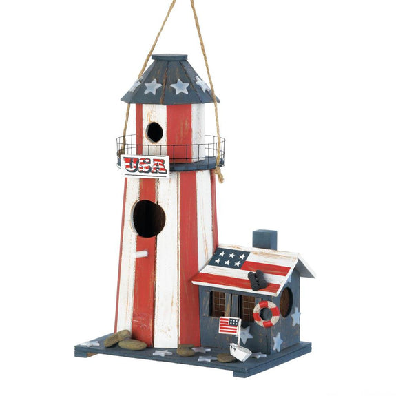 Birdhouse-Wood-Patriotic Lighthouse-Loving Nature