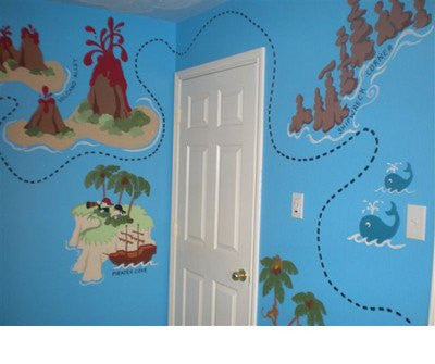 Pirate Pete's Treasure Map, a DIY Paint by Number Wall Mural by Elephants on the Wall - Expressions of Home