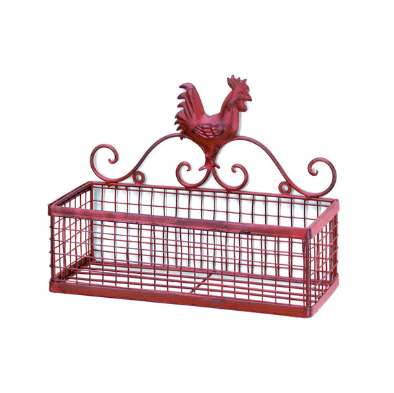 Kitchen-Single Wall Basket-Red Rooster-Country Life