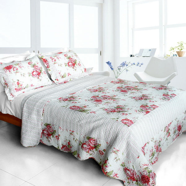 Bed Linen-Quilt Set-Full-Queen-Romantic Pink World