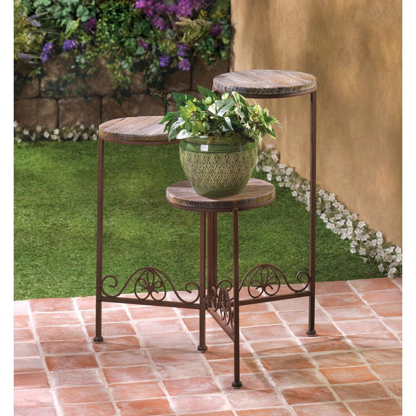 Plant Stand-Holds 3 Plants-Wrought Iron-Pine-Rustic