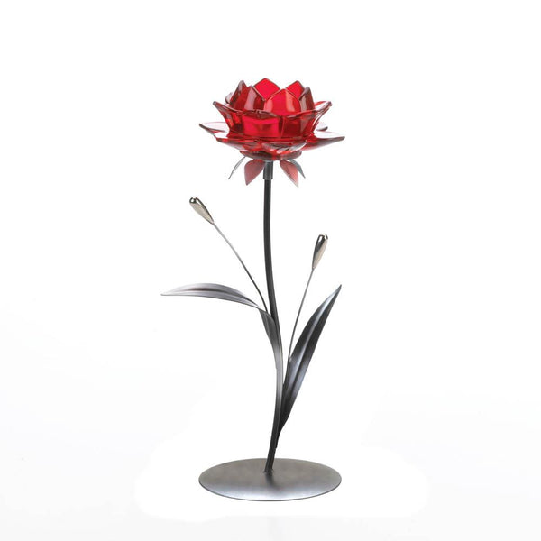 Candleholder-Single Red Flower-The Cozy Home