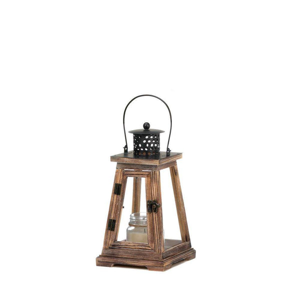 Pine Wood, Iron and Glass Ideal Candle Lantern - Seasonal Expressions - 1