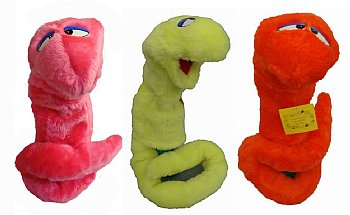 Blacklight Puppets-Glow in the Dark-Set of 3-Snakes-Worms-Orange-Pink-Yellow