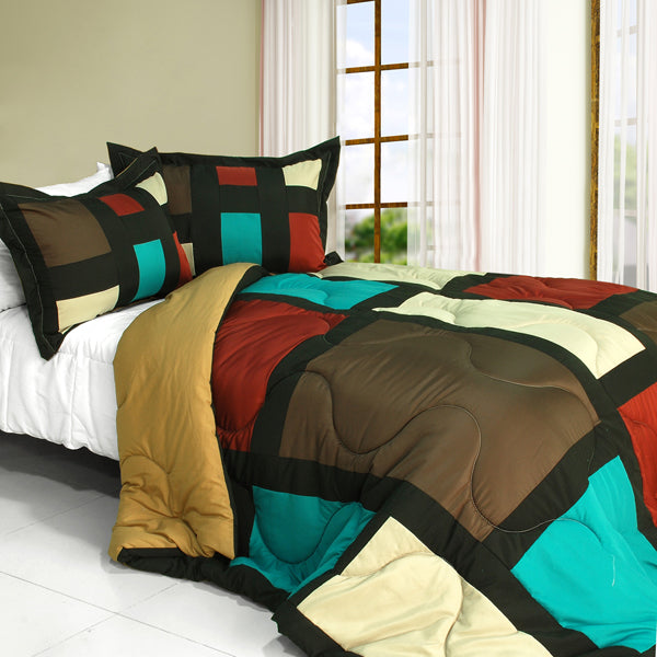Bed Linen-2 Piece Patchwork Comforter Set-Twin-Sweet Shadow