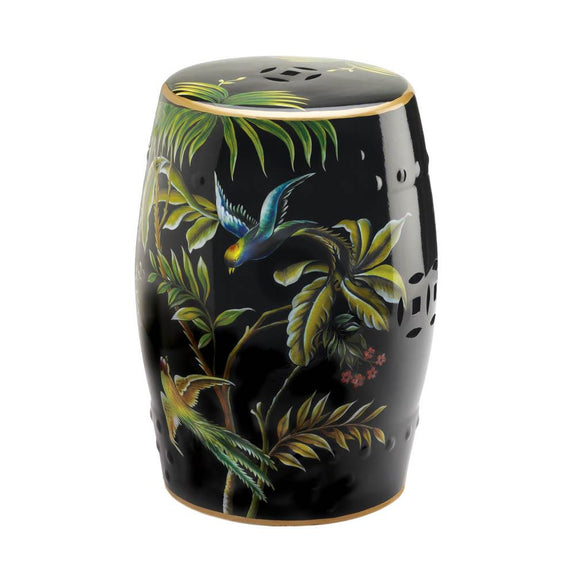 Decorative Stool-Ceramic-Tropical Birds