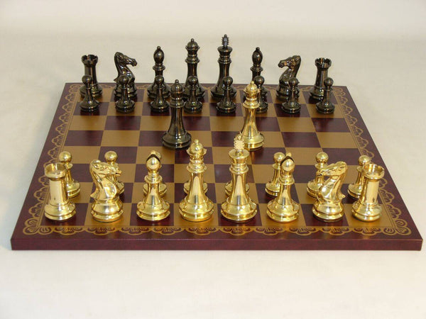 Chess Set-Staunton- Solid Brass Chess Men- Pressed Leather Board