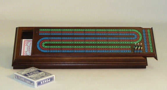 Wint Stained Royal Cribbage Box, 3 Track, Metal Pegs, Cards - Seasonal Expressions - 2
