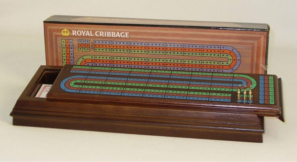 Wint Stained Royal Cribbage Box, 3 Track, Metal Pegs, Cards - Seasonal Expressions - 1