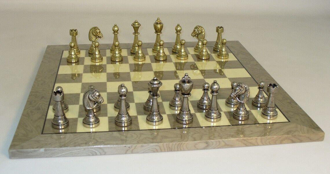 Chess Set-Staunton-Metal Men-Grey-Ivory Briar Glossy Veneer Board