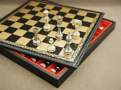 Large Metal Staunton Chess Set with Pressed Leather Chest - Seasonal Expressions