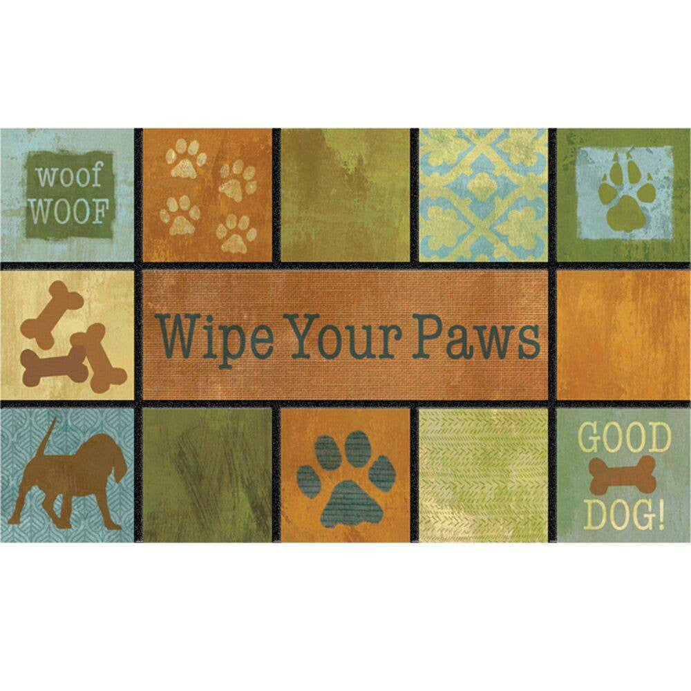 "Woof, Woof, Dog Lover's 18"" x 30"" Welcome Mat, Wipe Your Paws - Expressions of Home"