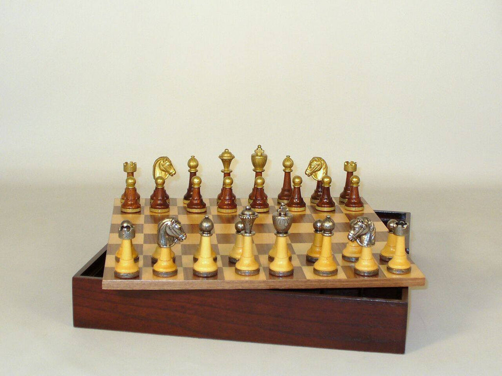 Staunton Metal and Natural Wood Men with Walnut-Maple Veneer Chest Chess Set - Seasonal Expressions - 3