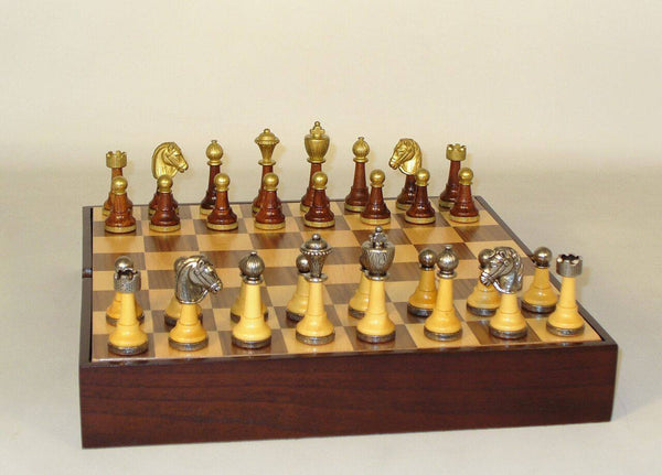 Staunton Metal and Natural Wood Men with Walnut-Maple Veneer Chest Chess Set - Seasonal Expressions - 1