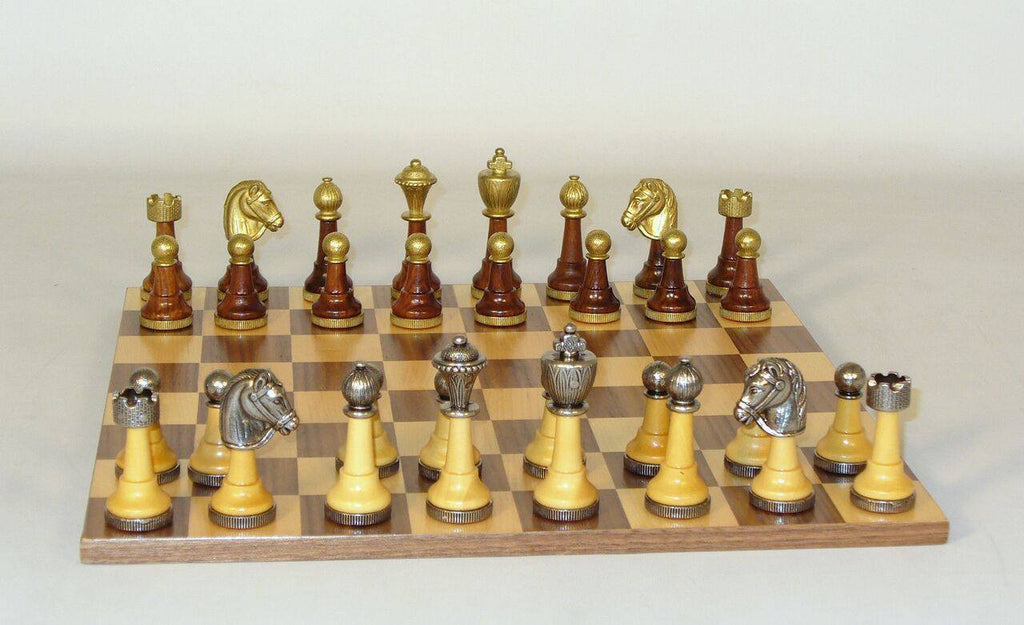 Staunton Metal and Natural Wood Men with Walnut-Maple Veneer Chest Chess Set - Seasonal Expressions - 5