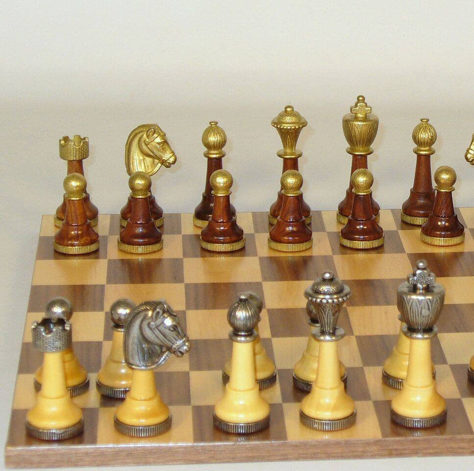 Staunton Metal and Natural Wood Men with Walnut-Maple Veneer Chest Chess Set - Seasonal Expressions - 4