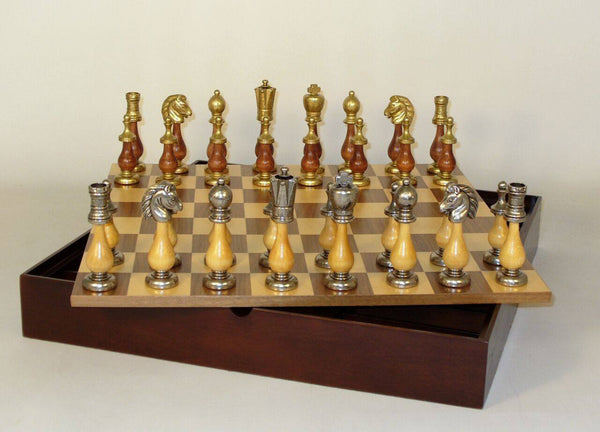Staunton Metal and Wood Men with Walnut-Maple Chest Chess Set - Seasonal Expressions - 1