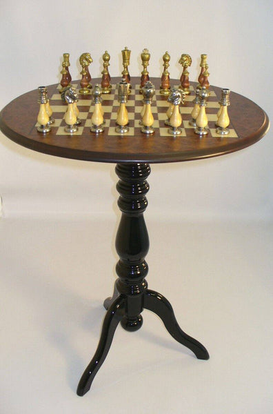Big Staunton Metal-Wood Chessmen with Round Pedestal Elm-Briarwood Veneer Table - Seasonal Expressions - 1