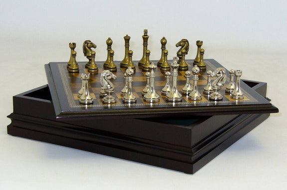 Metal Staunton Chessmen with Wood Inlaid Chest - Seasonal Expressions - 2