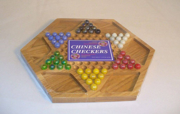 Hexagon Wood Chinese Checkers with Drawstring Bag for Marbles - Seasonal Expressions