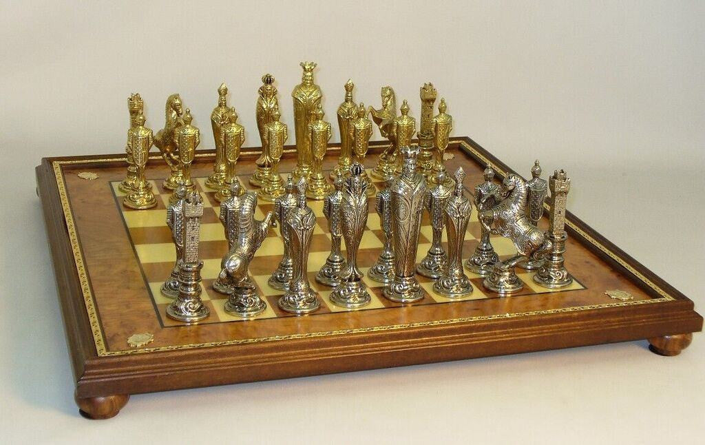 Renaissance Metal Chess Men on Golden Metal Trimmed Elm Burl Chess Board - Seasonal Expressions - 1
