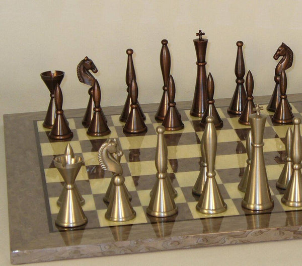 Brass Art Deco on Grey Briar Board Chess Set - Seasonal Expressions - 1