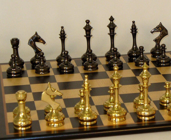 Brass Slim Men on Red Decoupage Board Chess Set - Seasonal Expressions - 1