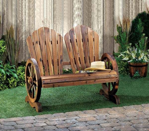 Garden Bench-Rustic-Wagon Wheels-Fir Wood