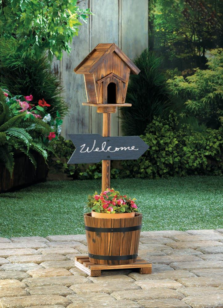 Garden Planter-Birdhouse-Wood-Welcome-Rustic Barrel Planter-Nature Lover