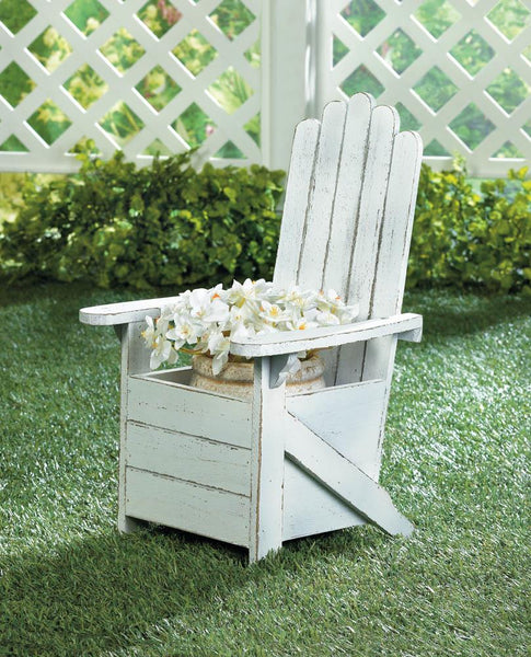 Garden Planter-White-Andirondack Chair