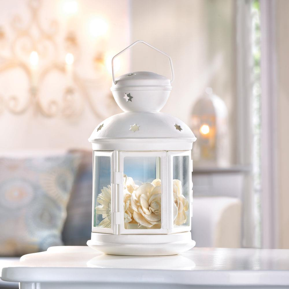 Lantern-White-Colonial Candle Lamp-Cozy Home