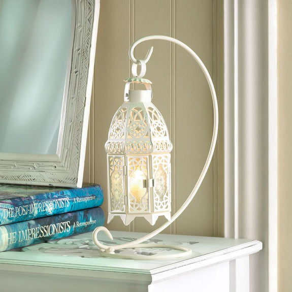 Lantern-White-Fancy Candle-Stand-Cozy Home