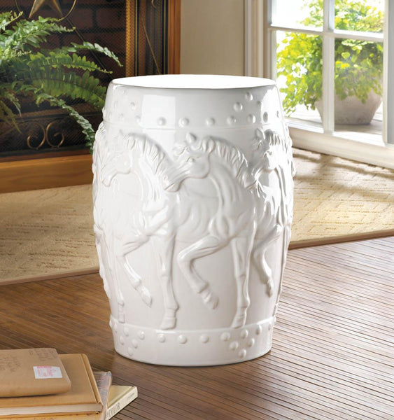 Decorative Stool-Ceramic-White Horses