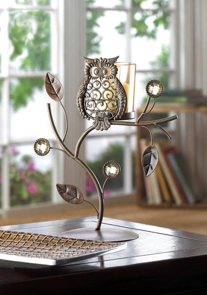 Candleholder-Votive Stand-Wise Owl-Cozy Home
