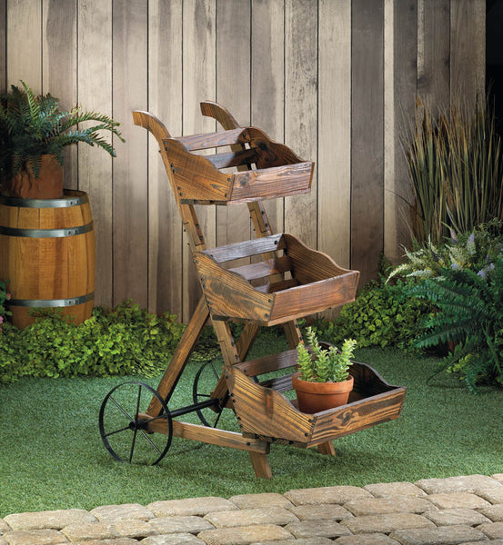 Garden Planter-Wooden-3 Tier-Plant Cart Stand