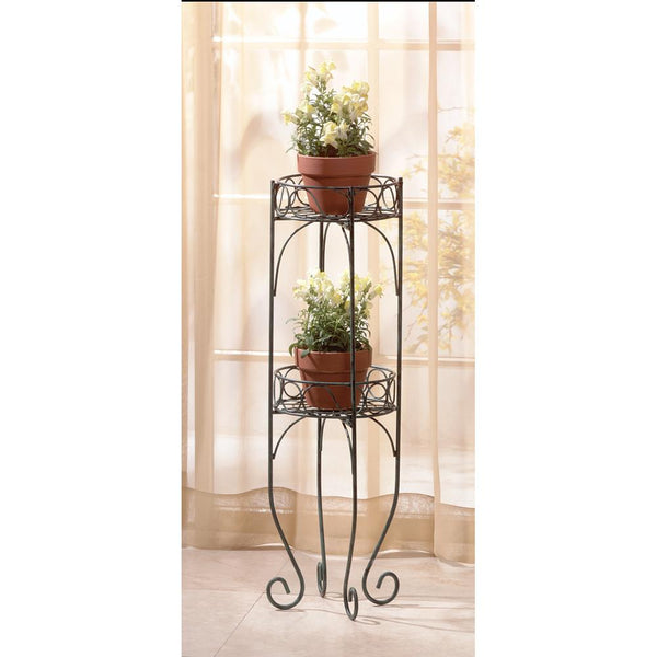 Plant Stand-Holds 2 Plants-Metal-Verdigris Style