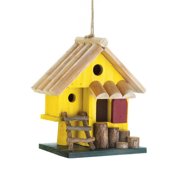 Birdhouse-Wood-Yellow Tree Fort- Nature Lover