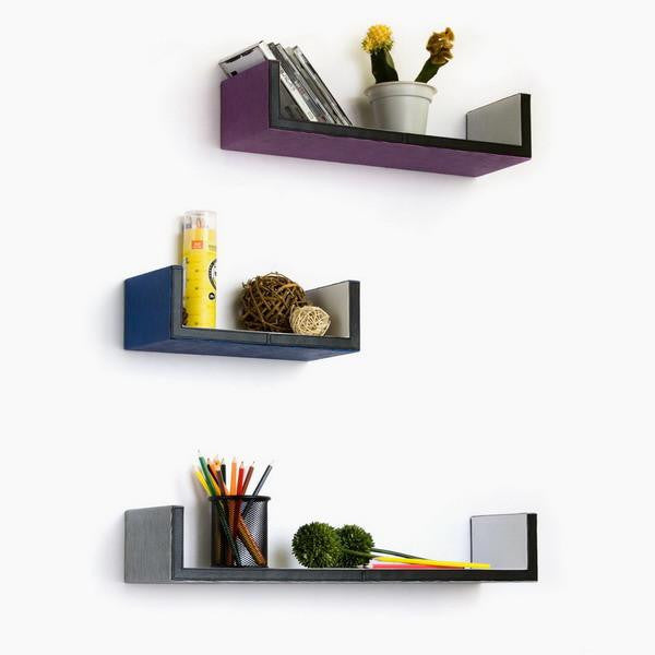 U-Shaped Leather Wall Shelves; Trista, Set of 3 - Expressions of Home