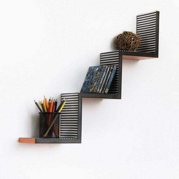 Ladder-Shaped Leather Wall Shelf; Trista - Seasonal Expressions - 4
